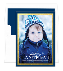 Hanukkah Navy with Gold Foil Border Photo Cards