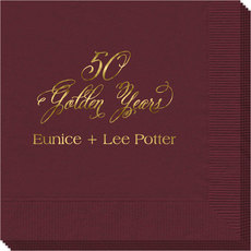 Elegant 50 Golden Years Napkins
