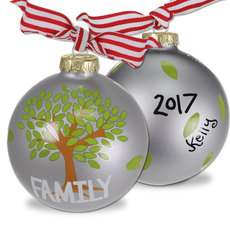 Family Tree Glass Christmas Ornament
