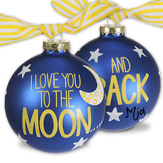 I Love You to the Moon and Back Glass Christmas Ornament