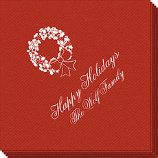 Traditional Wreath Linen Like Napkins
