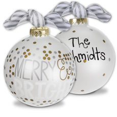 Merry and Bright Metallic Confetti Glass Christmas Ornament