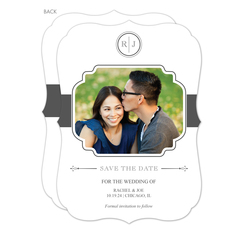White and Grey Initial Connection Photo Save the Date Cards