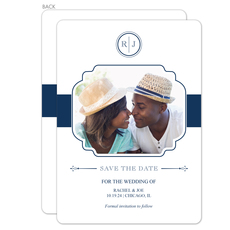 White and Navy Initial Connection Photo Save the Date Cards