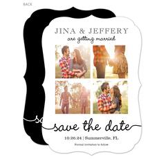 White Our Love Story Photo Save the Date Cards