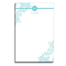 Aqua Damask Monogram Notepads