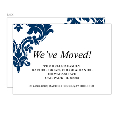 Navy Damask Moving Announcements