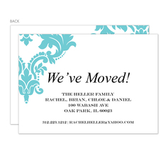 Aqua Damask Moving Announcements