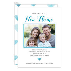 Teal New Home Photo Moving Announcements