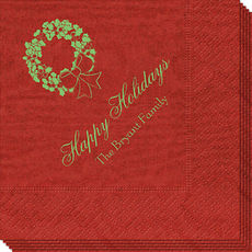 Traditional Wreath Moire Napkins
