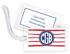 Red Brush Stripe Luggage Tags