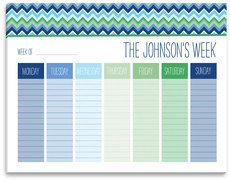 Blue Chevron Weekly Schedule Pad