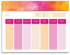 Pink Watercolor Weekly Schedule Pad