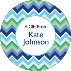 Blue Chevron Gift Stickers