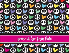 Peace & Hearts Folded Note Cards