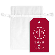Initial Monogram Hanging Gift Tags with Organza Bags