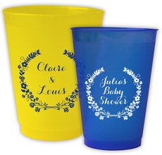 Personalized Colored Frosted Cups with Floral Laurel Wreath