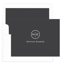 Charcoal Circle Initials Foldover Note Cards