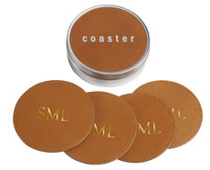 British Tan Leather Coasters with Tin Box