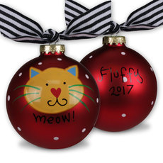 Meow Cat Glass Christmas Ornament