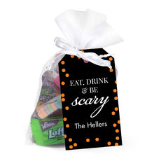 Eat Drink & Be Scary Hanging Gift Tags with Organza Bags