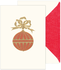 Red and Gold Ornament Holiday Cards with Inside Imprint