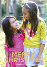 Vertical Sparkles Merry Christmas Flat Photo Cards
