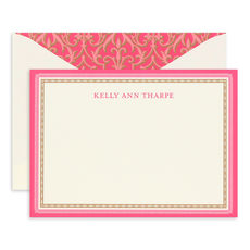 Pink and Gold Flat Correspondence Cards