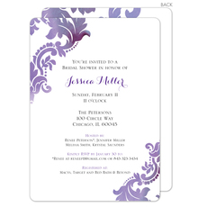 Purple Watercolor Damask Invitations