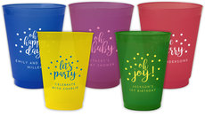 Personalized Confetti Dot Colored Frosted Cups