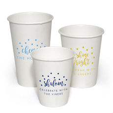Personalized Confetti Dot White Paper Party Cups