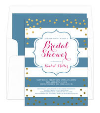 Wedgewood with Gold Confetti Bridal Shower Invitations