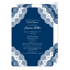 Navy Vintage Lace Invitations