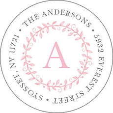 Pink Painted Precious Round Address Labels