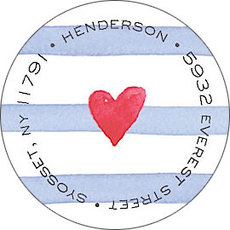 Blue Painterly Stripes Round Address Labels