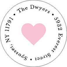 Heart of Rose Round Address Labels