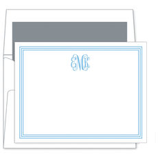 Grand Blue Border Monogram Flat Note Cards