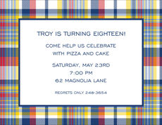 Navy and Red Madras Plaid Invitations