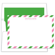 Pink & Green Stripe Flat Note Cards