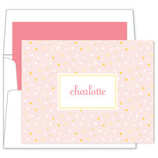 Pink Twinkle Stars Foldover Note Cards