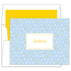 Light Blue Twinkle Little Stars Foldover Note Cards