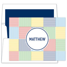 Blue Seersucker Patch Foldover Note Cards