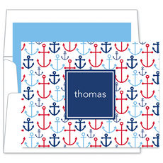 Blue Happy Anchors Folded Note Cards