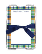 Navy and Orange Madras Plaid Memo Sheets in Holder