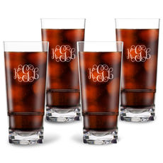 Personalized Tritan Acrylic Highball Set - Script Monogram