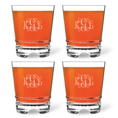 Personalized Tritan Acrylic Double Old Fashioned Set - Script Monogram