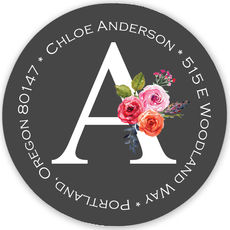 Charcoal Initial Rose Round Address Labels