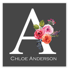 Charcoal Initial Rose Square Gift Stickers