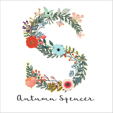 White Garden Initial Square Gift Stickers