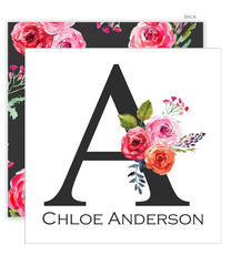 White and Charcoal Floral Initial Enclosure Cards